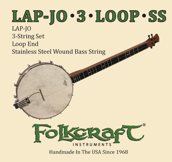 "Folkcraft® LAP-JO String Set, 3 Strings, Loop End (.012"" .015"" .026""SS)-Folkcraft Instruments"