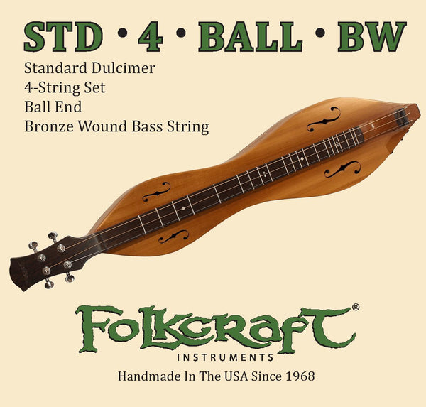 "Folkcraft® Mountain Dulcimer String Set, Ball Ends (.011"" .011"" .013"" .024""BW)-Folkcraft Instruments"