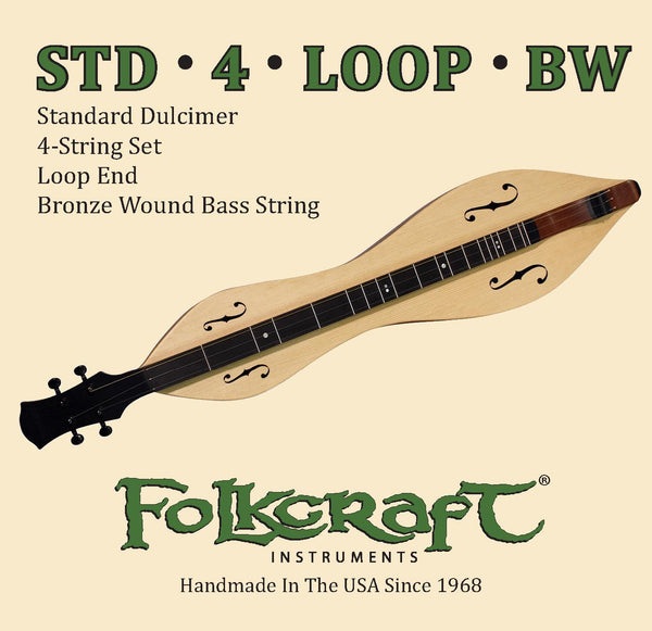 "Folkcraft® Mountain Dulcimer String Set, Loop Ends (.011"" .011"" .013"" .024""BW)-Folkcraft Instruments"