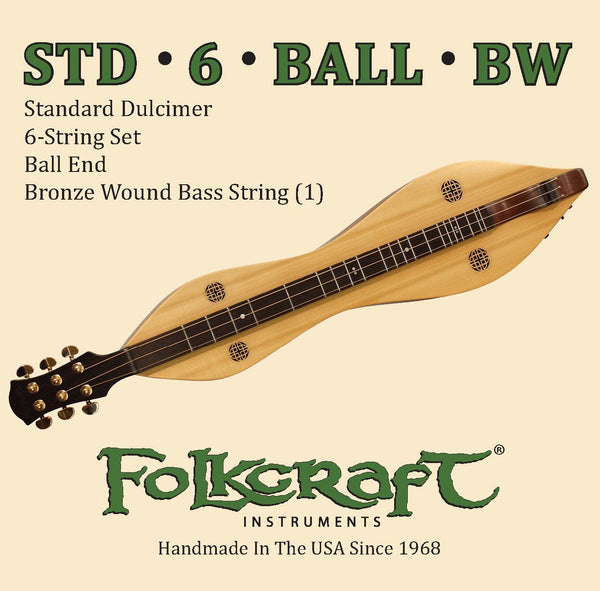 "Folkcraft® Mountain Dulcimer String Set, Six String, Ball Ends (.011"" .011"" .013"" .013"" .024""BW .011"")-Folkcraft Instruments"