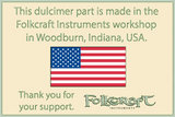 "Folkcraft® Northern Cherry Mountain Dulcimer Fingerboard, Nut And Bridge Slots Cut, Frets Installed, 1 1/2"" Wide-Folkcraft Instruments"