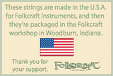 Folkcraft® Plain Steel Strings, Ball Ends, Pack Of Twelve, .016-Folkcraft Instruments