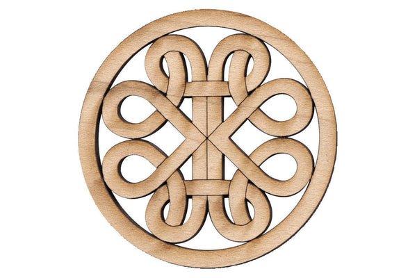 "Folkcraft® Rosette, Curvy Road, Maple, 1 1/2"" Diameter-Folkcraft Instruments"
