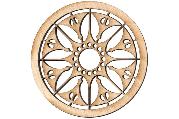 "Folkcraft® Rosette, Flowering Sun, Maple, 1 1/2"" Diameter-Folkcraft Instruments"