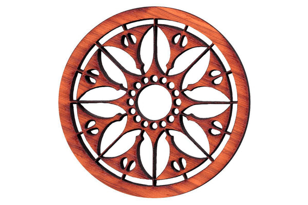 "Folkcraft® Rosette, Flowering Sun, Padauk, 2 3/16"" Diameter-Folkcraft Instruments"