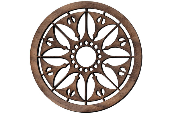 "Folkcraft® Rosette, Flowering Sun, Walnut, 2 3/16"" Diameter-Folkcraft Instruments"