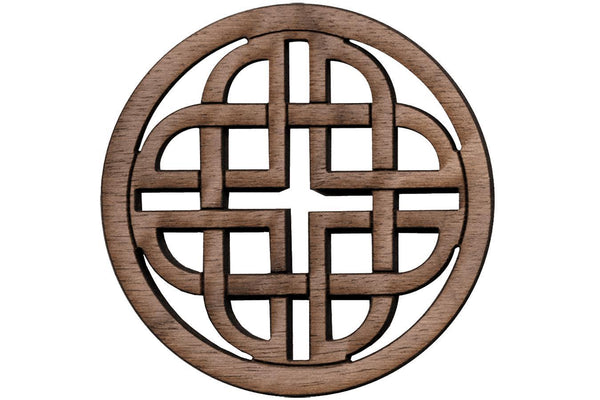 "Folkcraft® Rosette, Modern Celtic Shield, Walnut, 1 1/2"" Diameter-Folkcraft Instruments"