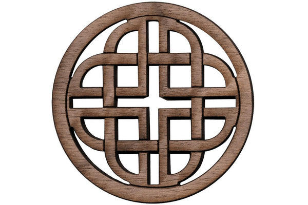 "Folkcraft® Rosette, Modern Celtic Shield, Walnut, 2 3/16"" Diameter-Folkcraft Instruments"