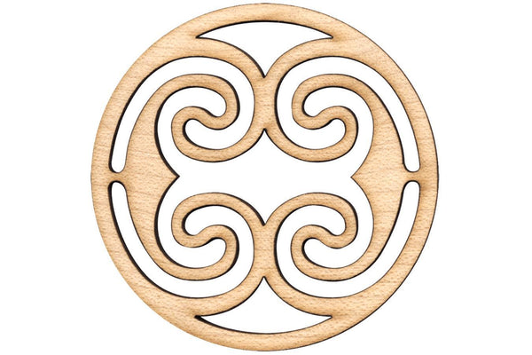 "Folkcraft® Rosette, Ocean Waves, Maple, 1 1/2"" Diameter-Folkcraft Instruments"