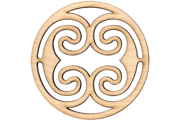 "Folkcraft® Rosette, Ocean Waves, Maple, 2 3/16"" Diameter-Folkcraft Instruments"
