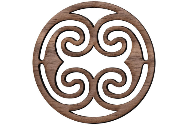 "Folkcraft® Rosette, Ocean Waves, Walnut, 2 3/16"" Diameter-Folkcraft Instruments"