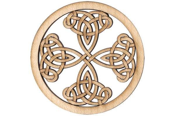 "Folkcraft® Rosette, Tight Pattern Shield Cross, Maple, 2 3/16"" Diameter-Folkcraft Instruments"