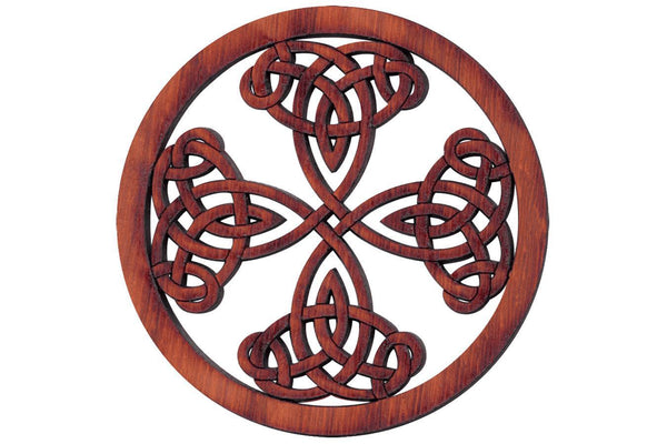 "Folkcraft® Rosette, Tight Pattern Shield Cross, Padauk, 2 3/16"" Diameter-Folkcraft Instruments"