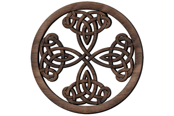 "Folkcraft® Rosette, Tight Pattern Shield Cross, Walnut, 1 1/2"" Diameter-Folkcraft Instruments"