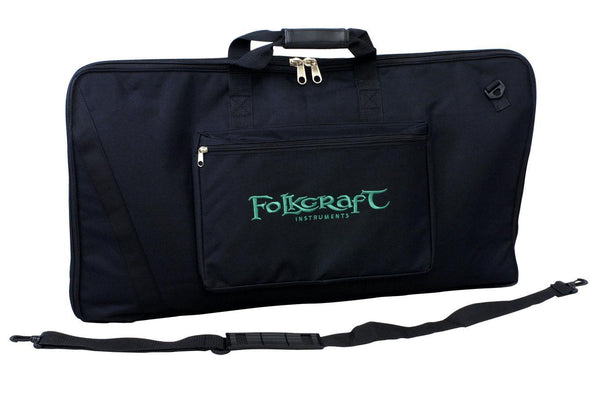 Kantele Carrying Case, Black Nylon, Embroidered With Folkcraft® Logo-Folkcraft Instruments Dulcimer Case Bag