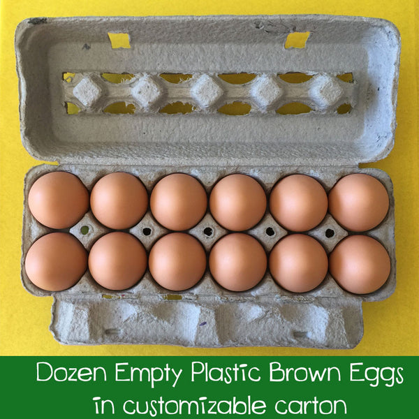 Dozen EMPTY Brown Plastic Eggs in Customizable Carton