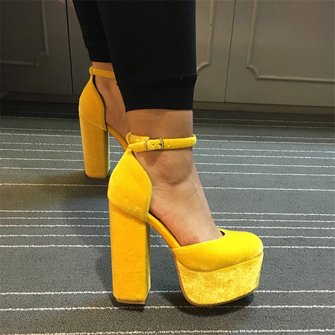 High Heels Buckles Platform Pumps