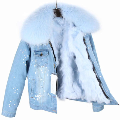 Parka Winter Coat With Fur Collar Real Fox Fur Lining Jacket