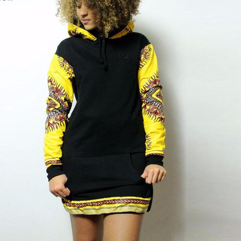 African black knitting stitching fabric wax printing long sleeve dress