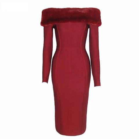 Winter Long Sleeve Dresses Women Wine Red Slash Neck Faux Fur