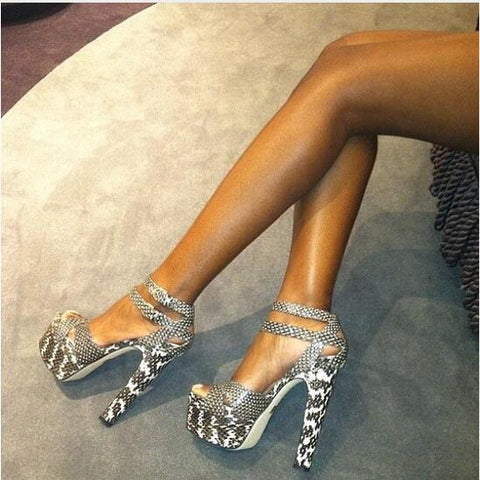 Double Ankle Strap Buckle Ladies Pumps Delicate Grey Snake Skin Print Leather