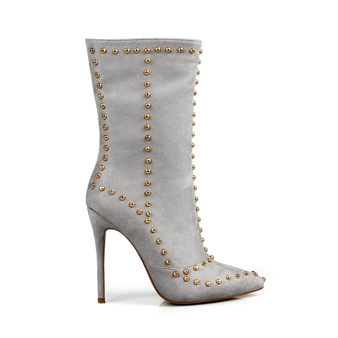Super thin high heels rivet pointed toe motorcycle mid-calf boots