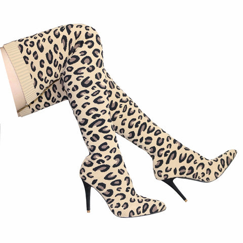 Thigh High Lady Boot Runway Fashion Leopard Pointed Toe