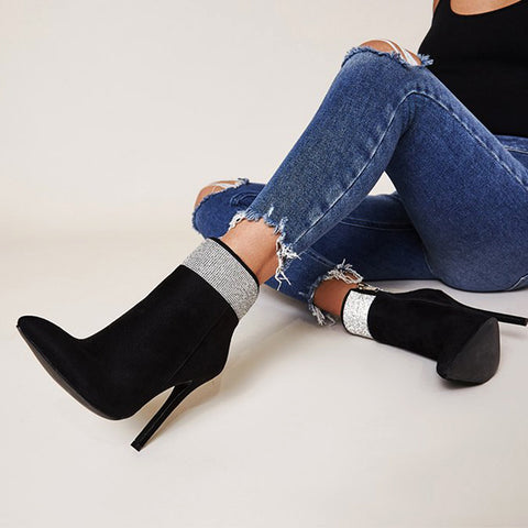 Suede Ankle Boot Super Thin Heel Sexy Bling Zipper Shoes