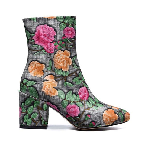 Embroider fabric fashion pointed toe high heels flower boots