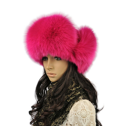 Winter natural genuine fox fur hat