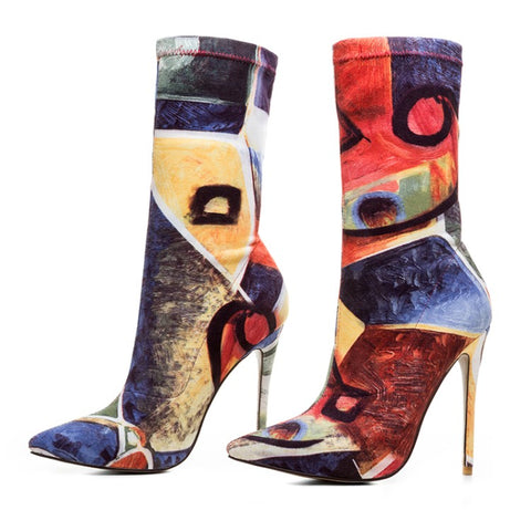 New Cool Women Ankle Boots Pointed Toe Thin High Heels Boots Multi Colors