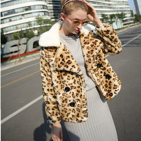 White Notched Collar Spliced Leopard Hairy Shaggy Short Faux Fur