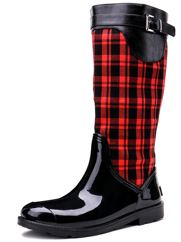 Black and Red Mid-Calf Side Zipper Waterproof Outdoor Rain Boots
