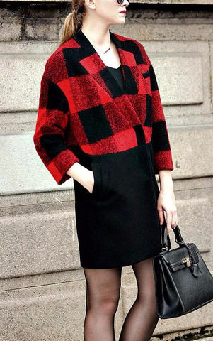 Red and black Plaid wool jacket