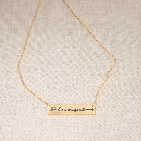 Always Live Original Sadie Robertson Horizontal Gold Bar Necklace