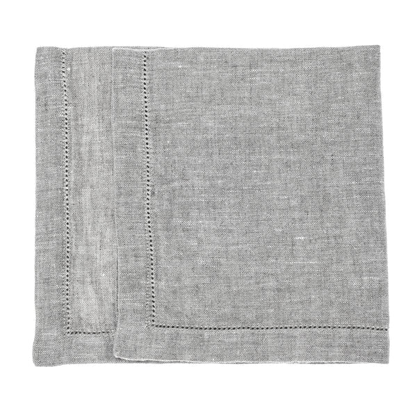 linen napkin stonewashed grey hemstitch