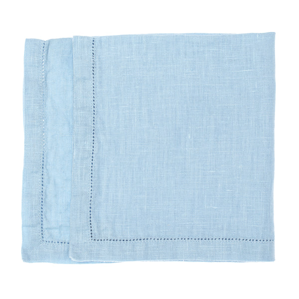linen napkin stonewashed light blue hemstitch