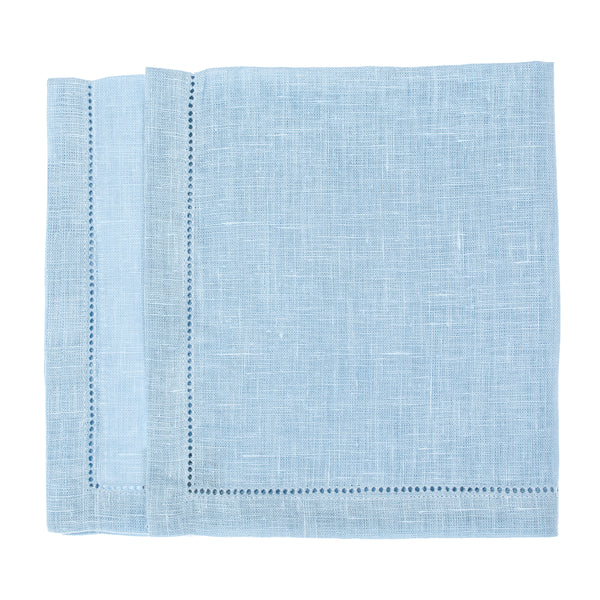 linen napkin hemstitch light blue