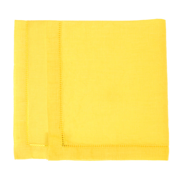 linen napkin yellow hemstitch