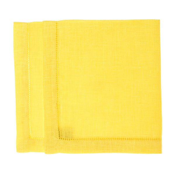 linen napkin yellow stonewashed hemstitch