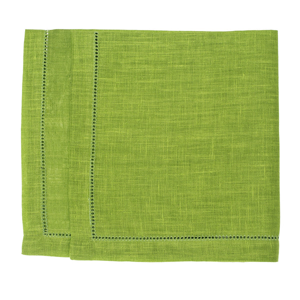 linen napkin lime green hemstitch