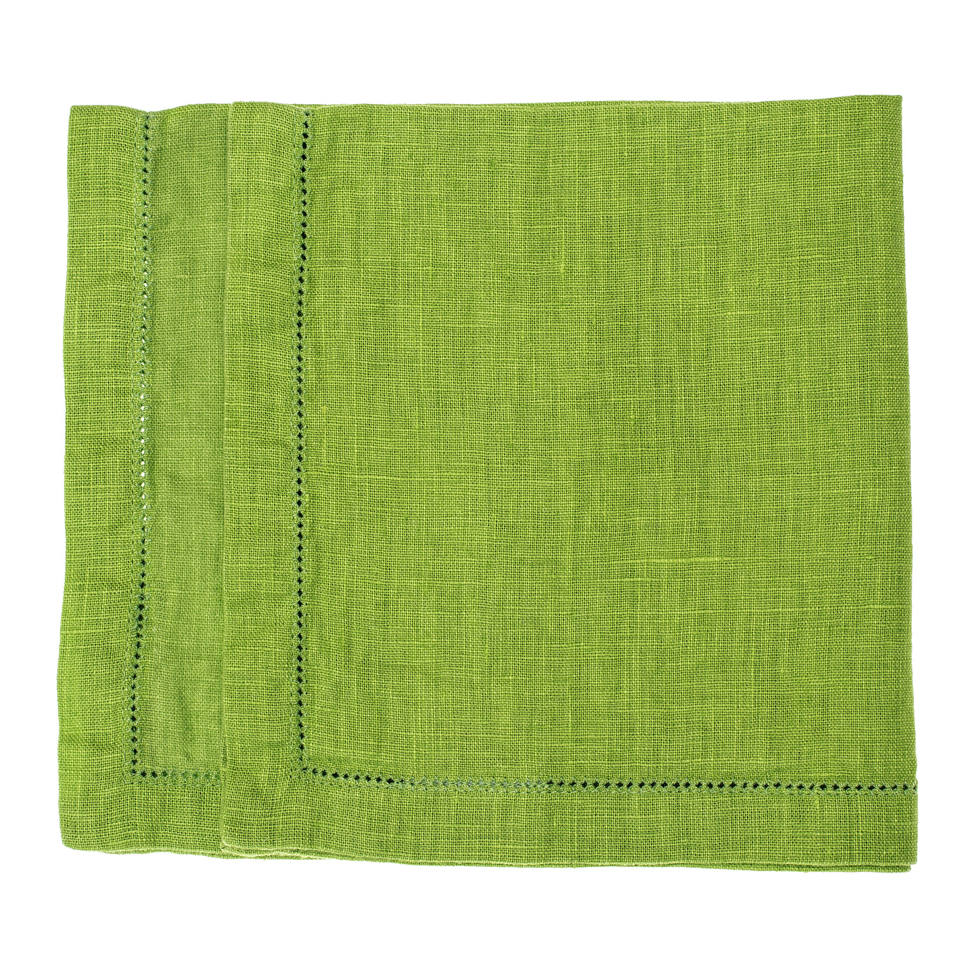 linen napkin stonewashed lime green hemstitch