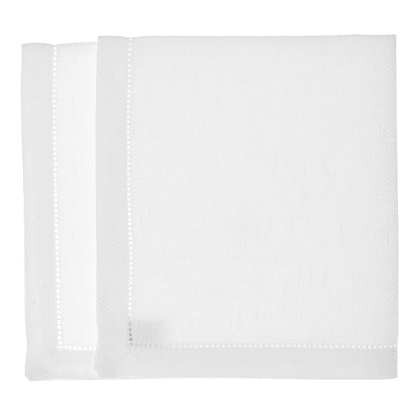 linen placemat fishbone hemstitch white
