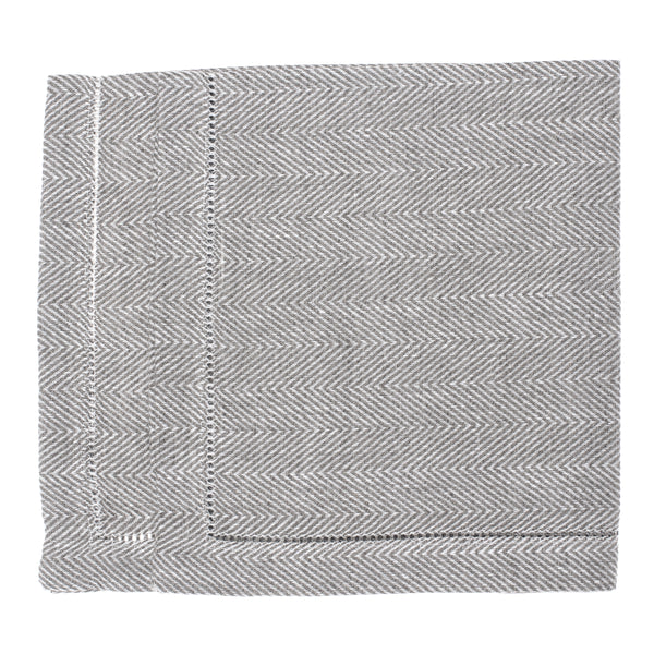linen placemat fishbone hemstitch grey