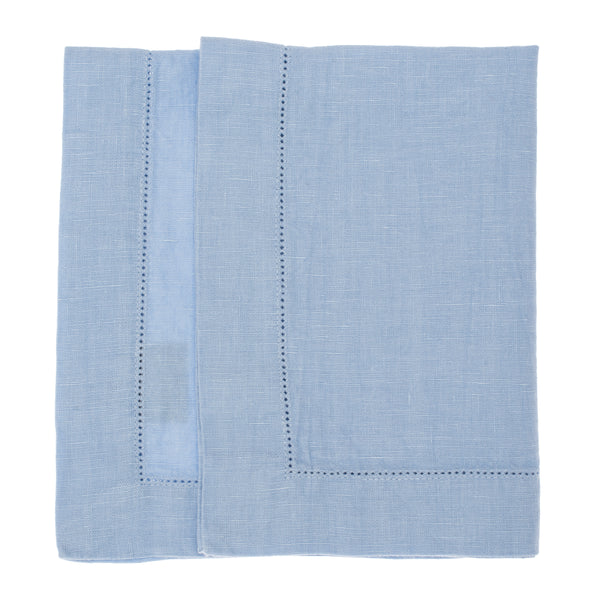 linen placemat stonewashed hemstitch light blue
