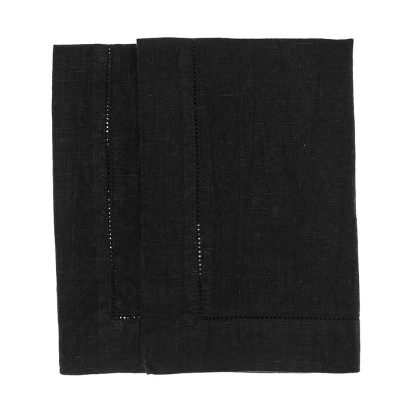 linen placemat stonewashed hemstitch black