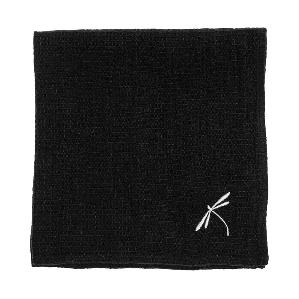 linen towel embroidered black dragonfly