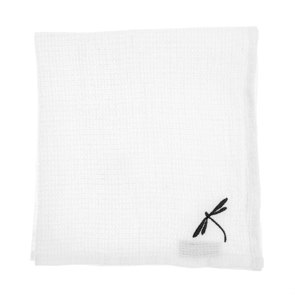 linen towel embroidered white dragonfly