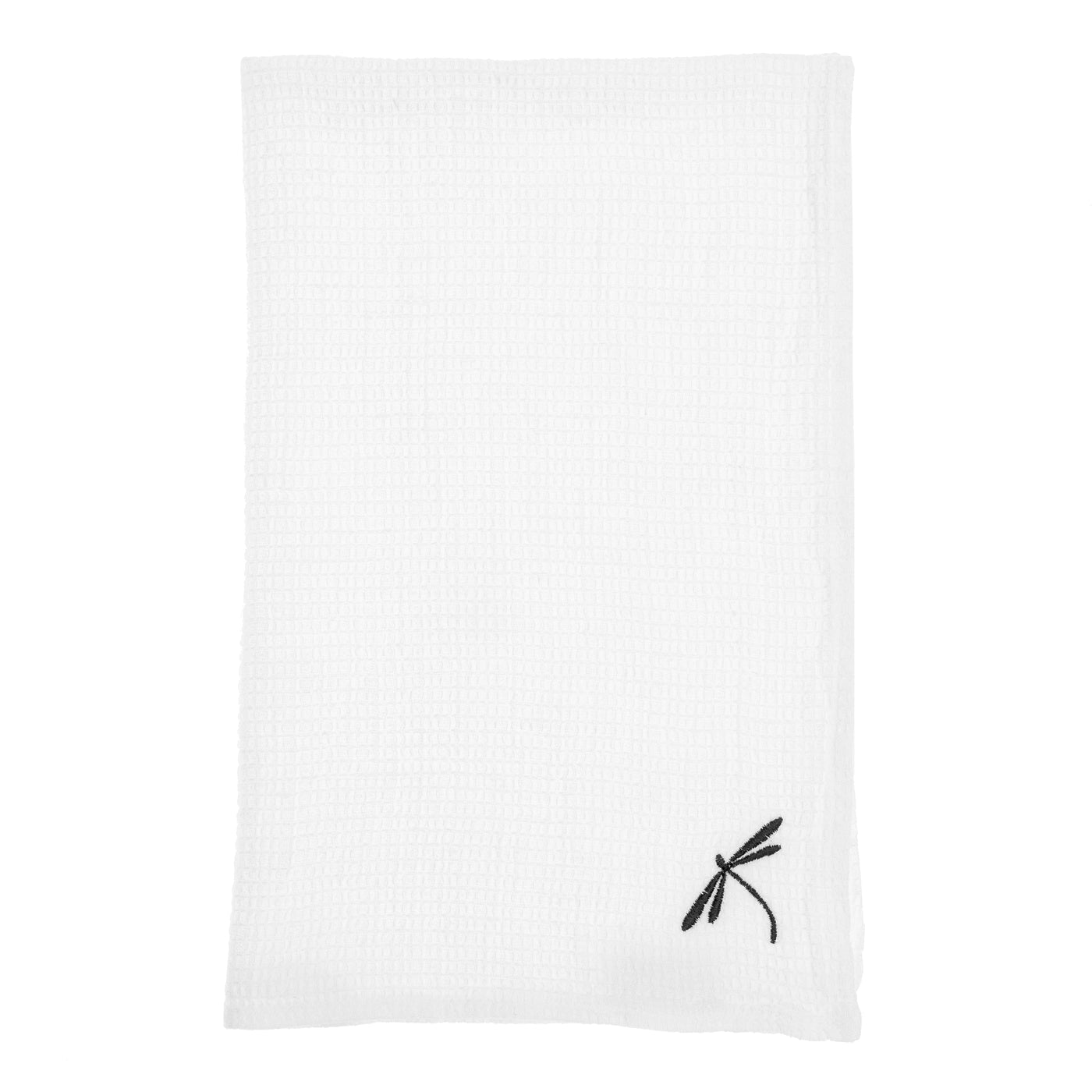 linen towel embroidered white dragonfly small