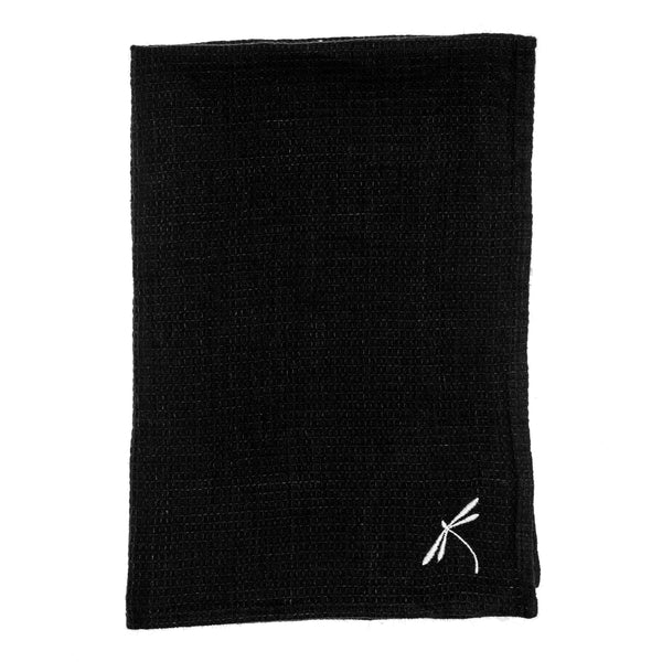 linen towel embroidered black dragonfly small